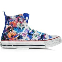 Converse Limited Edition Shoes All Star Hi Floral Printed Canvas/TXt... ($260) ❤ liked on Polyvore featuring shoes, sneakers, canvas sneakers, floral sneakers, canvas footwear, converse sneakers and floral canvas sneakers