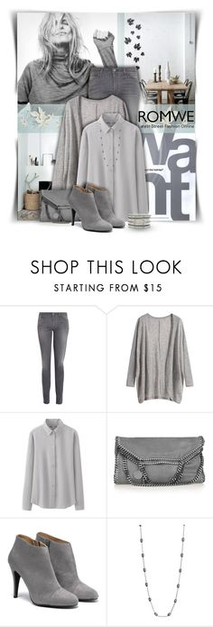 """Gray Feeling"" by kiki-bi ❤ liked on Polyvore featuring Gap, 7 For All Mankind, Uniqlo, STELLA McCARTNEY, Yeidid, Lane Bryant, romwe, greycardigan, greyjeans and greybooties"