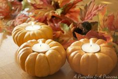 Pumpkin Tea Lights - so easy to make and looks great on a fall tablescape! With Gold Canyon Candles for the best smelling decor! Perfect for a Candle party!