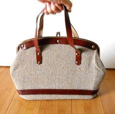 """Vintage 1950s Leather Tweed Frame Purse"" LilliesValleyVintage on etsy"