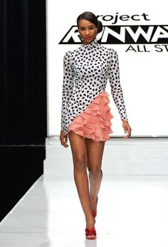 Kenley's creation from Project Runway All-Stars - LOVED the <3 s and the ruffles...however she always does the same cut for all her outfits