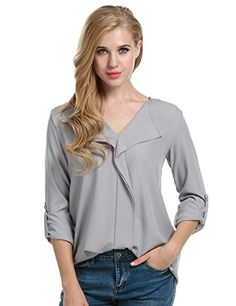 5b3b458e9feb13 ACEVOG Women's Loose Solid Chiffon Blouses V Neck Cuffed Sleeve Top Shirts  at Amazon Women's Clothing store: