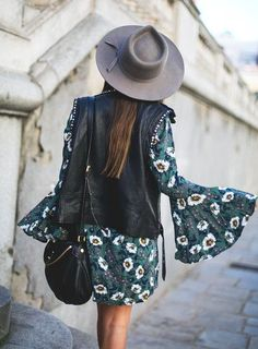 bell sleeve florals + leather vests