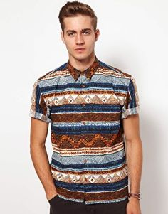 Sometimes you gotta get out of your comfort zone and go bold. This cool shirt from ASOS does the trick without looking flamboyant. ASOS Shirt With Aztec Print Dope Fashion, Fashion Outfits, Mens Fashion, Cool Shirts, Casual Shirts, Tie Styles, Casual Styles, Sharp Dressed Man, Printed Shirts