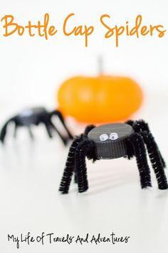 Cute and frugal #Halloween craft for kids! Bottle Cap Spiders! #preschool #kidscrafts (repinned by Super Simple Songs)