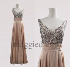 Custom Champagne Beaded Long Bridesmaid Dresses 2014 Prom Dresses Evening Gowns Formal Party Dress Formal Wear Cocktail Dresess Formal Wear on Etsy, $97.00