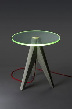 Lighted Glass and Concrete Table