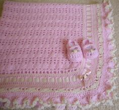 Crocheted Baby Blanket Pink w Ruffled Edges & by MagdaleneKnits, $48.00