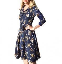 Skjortklänning Ines, Blåblommig