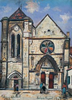 The Basilica Of Longpont (seine-et-oise) Artwork By Maurice Utrillo Oil Painting & Art Prints On Canvas For Sale Easy Paintings, Landscape Paintings, Monuments, Maurice Utrillo, Painting People, Painting Trees, Painting Canvas, Simple Oil Painting, Modigliani