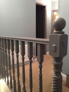 We painted the banister grey to complement the duck egg walls in our landing and staircase