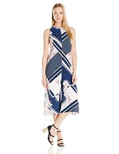 French Connection Womens Samba Avenue Drape Jumpsuit Utility BlueMulti 12 ** BEST VALUE BUY on Amazon