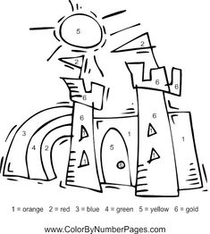 castle color by number Royal Theme, Thing 1, White Pages, Coloring Pages To Print, Summer Colors, Numbers, Castle, Black And White, Summer Colours