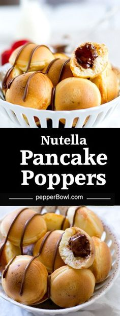 Nutella stuffed pancake poppers, a great easy idea to serve the kids for breakfast. Made with a few ingredients.