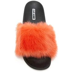 Faux Fur Slides (700 RUB) ❤ liked on Polyvore featuring shoes, forever 21, forever 21 shoes, pull on shoes, faux fur shoes and slip-on shoes