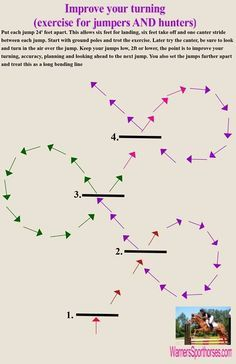 another great excercise to slow the speedy horse. turn turn turn! offsetting them opens the options ex using a larger C pattern to cover two jumps/poles etc.