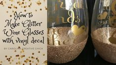 This is my first video guys! It is me making glitter Wine glasses.very fine glitter, Mod Podge, 651 Oracle vinyl, foam paint br. Diy Disney Wine Glasses, Glitter Wine Glasses, Diy Wine Glasses, Decorated Wine Glasses, Hand Painted Wine Glasses, Glitter Tumblers, Glitter Projects, Diy Projects, How To Make Glitter