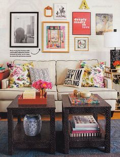 Homely living room with personal collection on the walls.