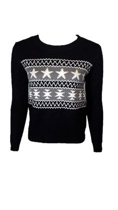 At Last Black and White JuniorsIntarsia Crew Neck Sweater