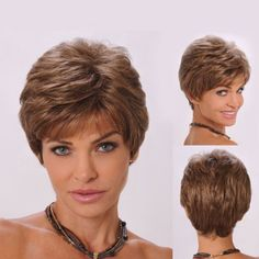 Fluffy Side Bang Brown Short Wavy Elegant Synthetic Stylish Capless Wig For Women