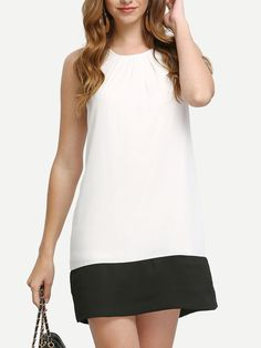Buy it now. Beige Black Contrast Sleeveless Shift Dress. Beige Casual Polyester Round Neck Sleeveless Short Color Block Fabric has no stretch Summer Tunic Dresses. , vestidoinformal, casual, camiseta, playeros, informales, túnica, estilocamiseta, camisola, vestidodealgodón, vestidosdealgodón, verano, informal, playa, playero, capa, capas, vestidobabydoll, camisole, túnica, shift, pleat, pleated, drape, t-shape, daisy, foldedshoulder, summer, loosefit, tunictop, swing, day, offtheshoulder,...