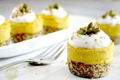 Raw Vegan Pumpkin Mini Cheesecakes...a delicious, creamy clean eating pumpkin cheesecake with pecan crust, healthy ingredients and is vegan, gluten-free, dairy-free, paleo-friendly and no refined sugars | The Healthy Family and Home