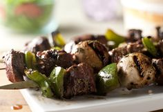 Savory Grilled Beef Kabobs: Beef sirloin is threaded onto kabobs with mushrooms and green pepper, then grilled with an herb-seasoned basting sauce. Beef Kabob Recipes, Grilling Recipes, Cooking Recipes, Healthy Recipes, Grilling Tips, My Favorite Food, Favorite Recipes, Steak Kabobs, Steak And Mushrooms