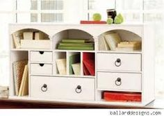 Kitchen counter organizer idea. (like the drawer idea, but too tall)