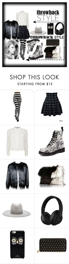 """""""B/W"""" by tobash21 ❤ liked on Polyvore featuring Chay, Dr. Martens, River Island, Janessa Leone, Beats by Dr. Dre, Kate Spade and Alexander McQueen"""