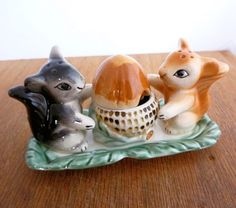 Vintage Woodland Salt & Pepper, Jelly and Tray, Squirrels and Acorn, Woodland Kitsch
