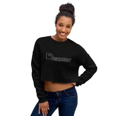 No Fucks Given Custom Crop Sweatshirt, women's cropped sweatshirt, cropped sweater outfit. Did you know that fashion and comfort can be combined? This fleece crop sweatshirt is here to prove the point. Sweat Shirt, Cropped Shirt, Magazine Mode, Perfectly Imperfect, Workout, Black And Navy, Soft Fabrics, Crop Tops, Trending Outfits