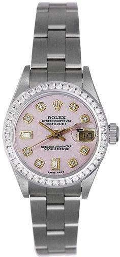 Rolex Ladies Datejust Stainless Steel Pink MOP Diamond Dial & Diamond Bezel #Rolex