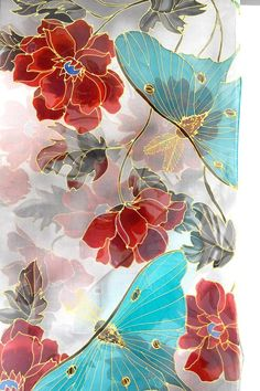 Hand Painted Silk Shawl Japan Scarf Kimono Silk Scarf Luna Moth Scarf Chiffon Scarf Luna Moth in Moon Red Peony Garen Made to order Art Chinois, Art Asiatique, Red Peonies, Silk Art, Inspiration Art, Silk Shawl, Japan Art, Art Design, Fabric Painting