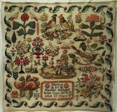19TH-CENTURY-BIRD-FLOWER-MOTIF-SAMPLER-BY-HANNAH-ANTHONY-1878