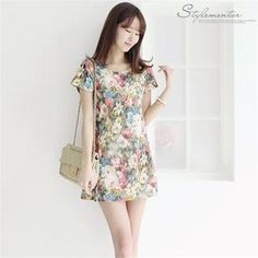 Short-Sleeve Floral Mini Dress from #YesStyle <3 Stylementor YesStyle.com
