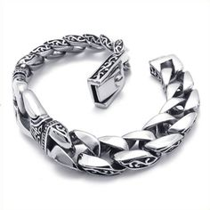 http://cheune.com/store KONOV Jewelry Stainless Steel Men's Bracelet, Silver Black, 8 3/4 Inch