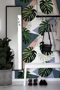 Removable wallpaper - Colorful Monstera Wallpaper - Peel and stick wallpaper - Tropical wallpaper -