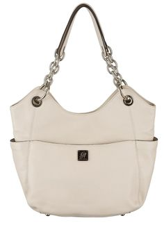 "Grace Adele Handbag ~ Carly Stone $200 ~ Elevate your style with handcrafted full-grain leather and high-fashion chains. Silver ""feet"" keep your bag off the floor. www.EyeCandy.GraceAdele.us"