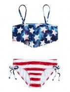 Stars & Stripes Fringe Bikini Swimsuit from Justice. Saved to Swimsuits👙. Summer Bathing Suits, Girls Bathing Suits, Summer Swimwear, Summer Suits, Cute Swimsuits, Cute Bikinis, Justice Swimsuits, Bikini Swimsuit, Bathing Suits