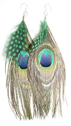 Peacock, Guinea feather earrings