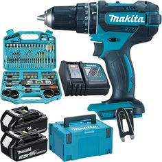 *CLICK TO ENLARGE* Makita DHP482 LXT 18V combi drill with two 3.0Ah batteries & FREE 101-piece accessory set Makita Power Tools, Work Tools, Gadgets And Gizmos, Drills, Billionaire, Man Cave, Porn, Luxury, House