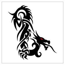 Permanent Link to : Tribal Dragon on Flower Tattoo Design 3