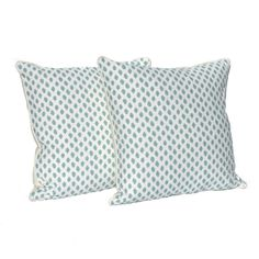 """This pair of decorative 20"""" x 20"""" pillows are handmade in designer sahara mineral white flax fabric in beautiful aqua and white. The pillow covers are"""