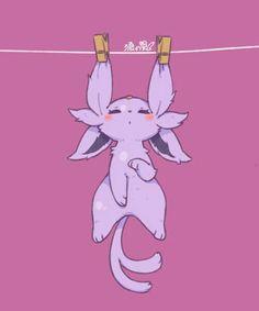 Espeon, cute, clothespin, clothesline; Pokémon
