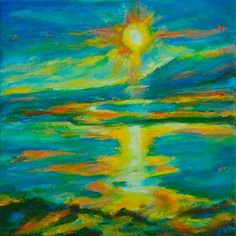 Beautiful Iceland Sunset Lake Landscape - Original Sq Acrylic Painting | yen - Painting on ArtFire