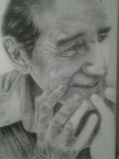 Dibujo en carboncillo sobre tela