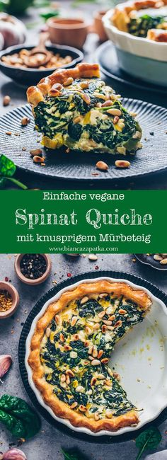 This vegan spinach quiche is creamy, cheesy & delicious! It's an easy vegan quiche recipe baked in homemade pie crust. Perfect for breakfast, brunch & lunch Savory Breakfast, Vegan Breakfast Recipes, Vegetarian Recipes, Dinner Recipes, Healthy Recipes, Spinach Quiche Recipes, Vegan Quiche, Vegan Recipes Spinach, Zuchinni Recipes