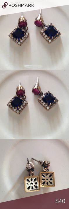925 STERLING SILVER DROP EARRINGS 6g Description Jewelry Type: Earrings Metal Type: 925 Sterling Silver/Brass  Metal Size: 1 Inch Stone Type: Sapphire & Ruby (simulated) Stone Weight: N/A Stone Color: Blue & Red  Condition: Very Good Jewelry Weight: 6 Grams Gina'sCloset Jewelry Earrings