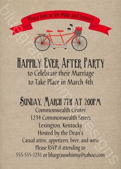 Great invitation idea for a celebration after the pop up wedding or elopement. Tandem Bicycle, Rustic / Burlap/ Linen Post- Wedding or Elopement Celebration, Printable Invitation