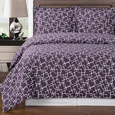 Modern Geometric Pattern 300-Thread-Count 100 percent Egyptian Cotton Purple and White Duvet Comforter Cover and Shams Set.  Bedding set made of 300 thread count 100% egyptian cotton for softness, elegance and comfort.  Cute pattern for girls teen bedroom,